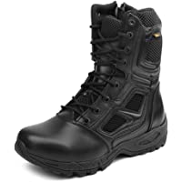 IODSON Zapatos de Hombre Botas/Botas de Combate/Botas Tácticas Ultra-Ligero Antideslizante Tela de Cuero Verdadero…