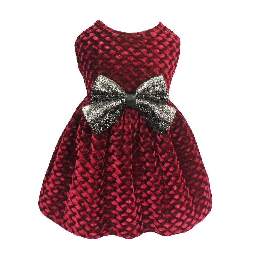 Fitwarm Christmas Dog Dresses for Pet Clothes Cat Vest Dresses Apparel Lightweight Velvet Red