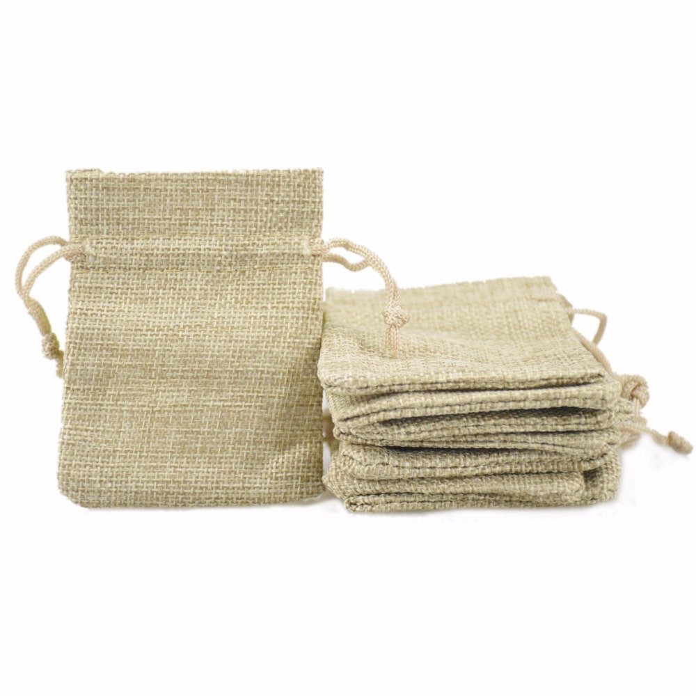 Yalulu 810cm 50 Pack Mini Natural Jute Burlap Gift Bag with Nylon Drawstring for Arts & Crafts Projects, Gift Packaging, Presents, Snacks & Jewelry