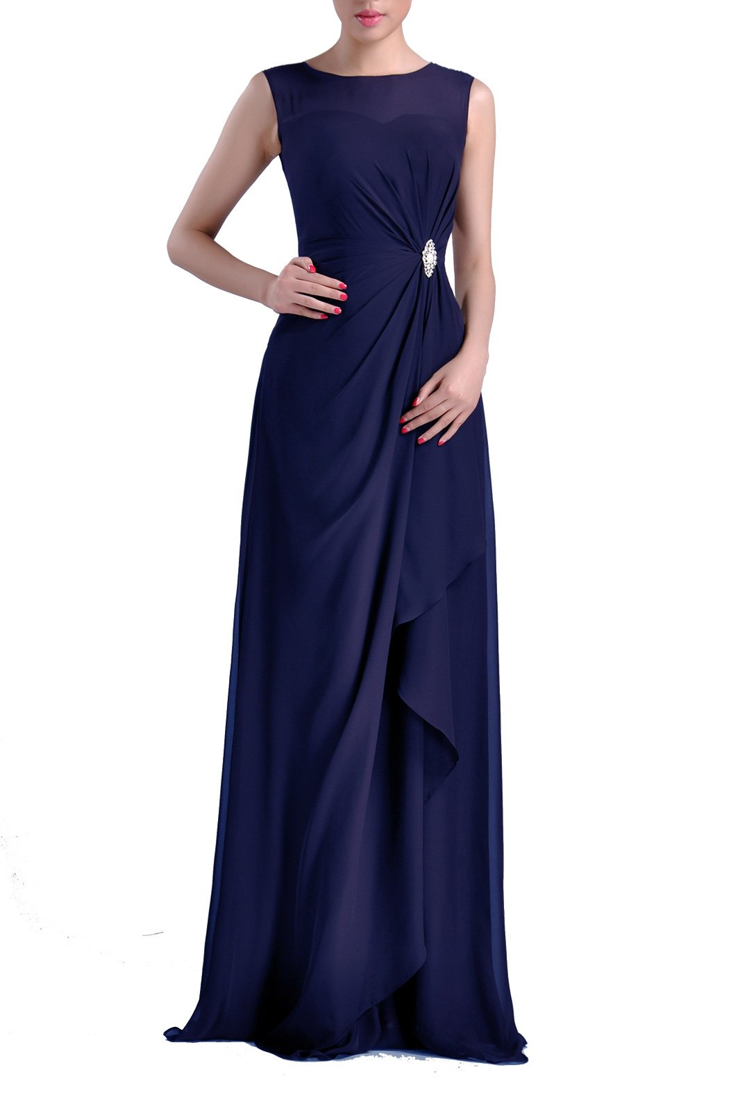 Formal Bridesmaid Dress Chiffon Special Occasion Long Mother of the Bride Groom Dress, Color Navy Blue ,12 by Adorona