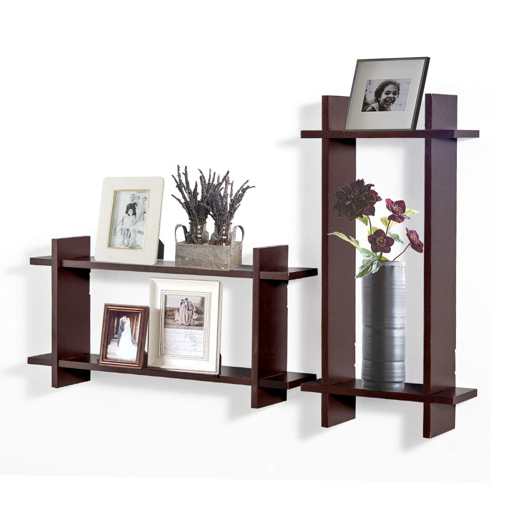 AHDECOR Cross Intersecting Display Floating Wall Mounted Shelf Set of 2 pcs (Brown)