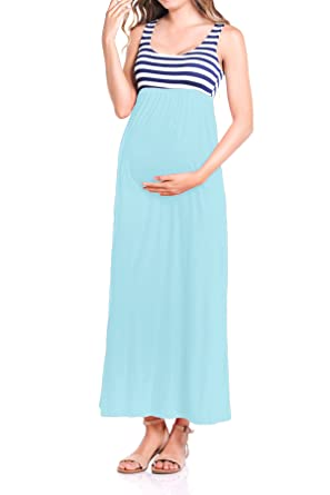 893794ba91d63 Beachcoco Women's Maternity Stripe Maxi Tank Dress Made in USA at ...