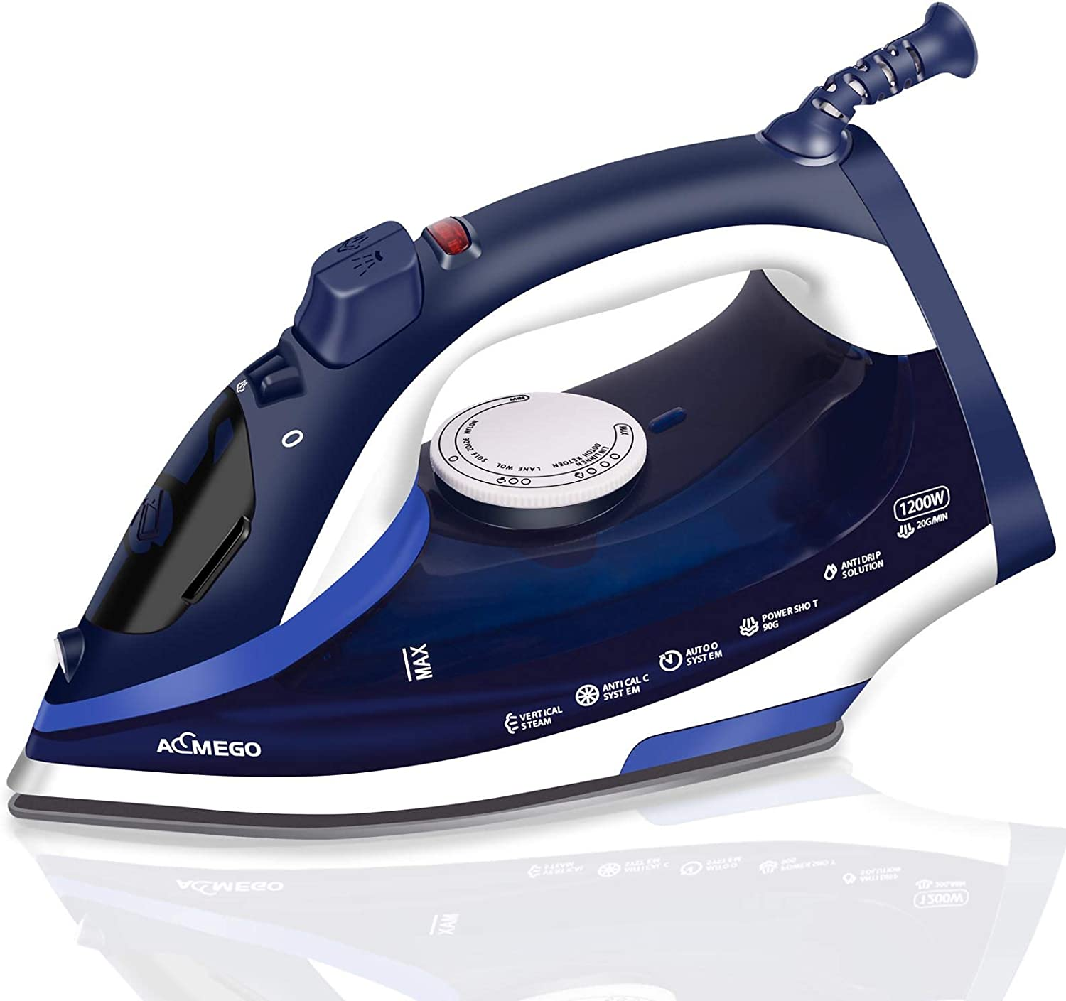 AEMEGO Steam Iron for Clothes Lightweight Portable Iron with Non Stick Ceramic Soleplate Anti Drip Vertical Irons for Ironing Clothes Self-Clean Auto-Off Function Small Size for Home Travel
