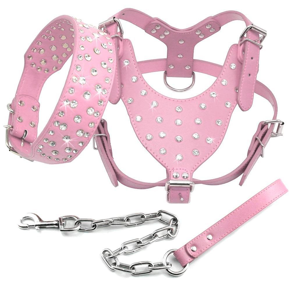 Benala Shine Bling Rhinestone Studded Leather Dog Harness&Collar&Leash Walking Set 3Pcs Medium Large Dogs Pitbull Boxer Terrier,Pink,XL by Benala