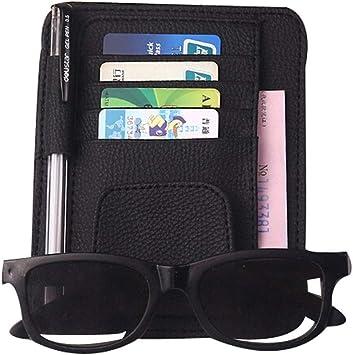 Black Senyar Multi-functional Car Sun Visor Card,PU leather Sun Visor CD Organizer Bill Holder Organizer Storage Bag