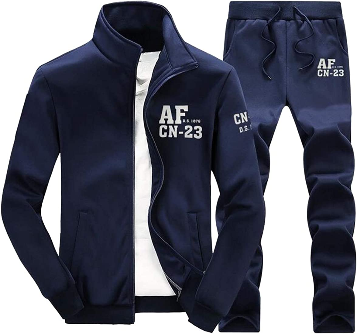 pipigo Mens Letter Print Jacket /& Pants 2 Pieces Suits Full-Zip Casual Active Outfits Tracksuit Sweatsuits Navy Blue L