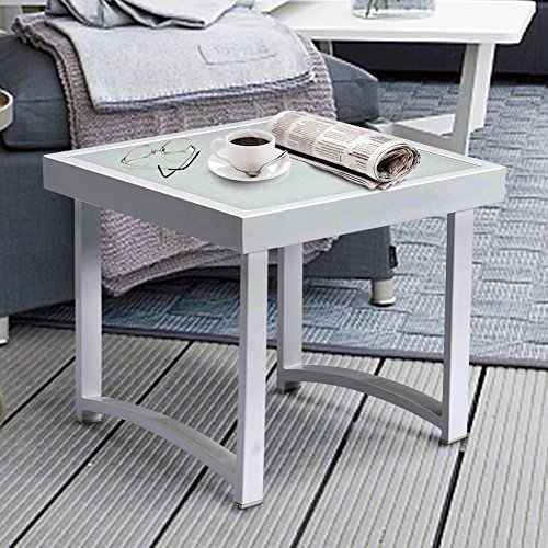 Modern Square End Tables for Living Room, White Rustic Aluminum Outdoor Side Table, Patio Tempered Glass Accent Table (End Table) (Colored Tables Accent)