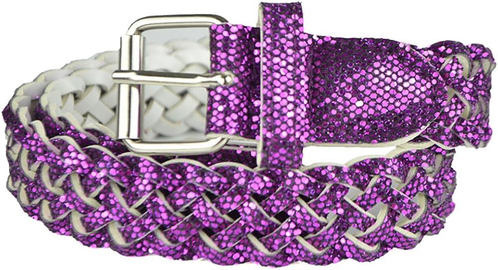 Girls Belt Colorful Metallic Glitter Braided Faux Leather Belt for Kids by Belle Donne