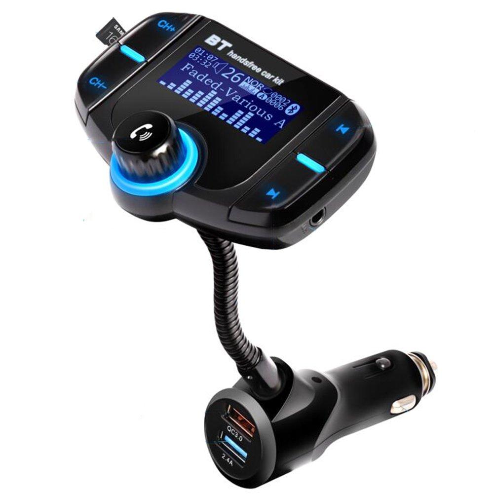 Bluetooth FMトランスミッターwith QC 3.0高速充電器、ワイヤレス車載充電器with大画面、Bluetoothカーラジオアダプタ2 USBポート ESH-CT-02 B075WQX8MV  Car Kit02