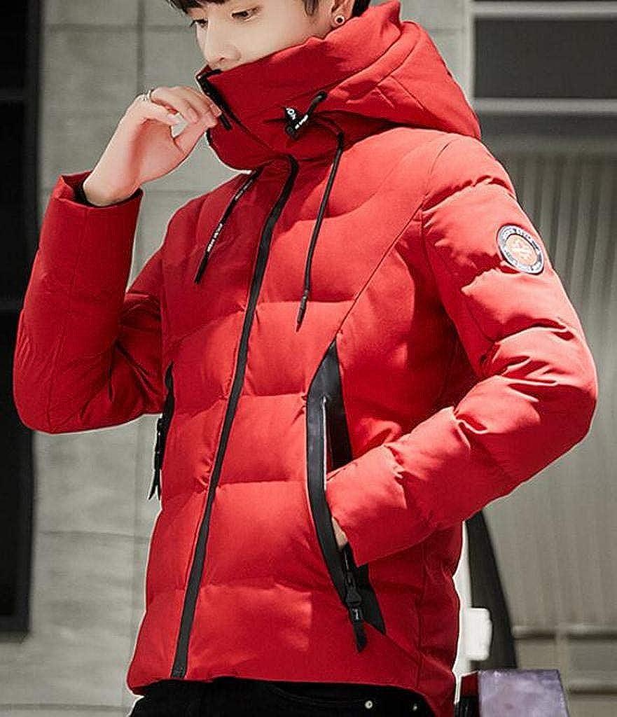 SHOWNO Mens Warm Zipper Thicker Winter Hoodie Down Quilted Coat Jacket Overcoat