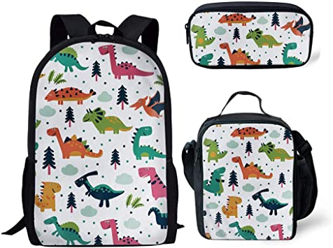 Cartoon Dinosaur Backpack Set Boys Girls School Lunch Pencil Bag Travel Daypack