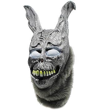 VUKUB Halloween Decoración Frank Evil Plata Conejo Máscara Disfraz Máscara Cosplay Full Head Máscara Látex Fuego