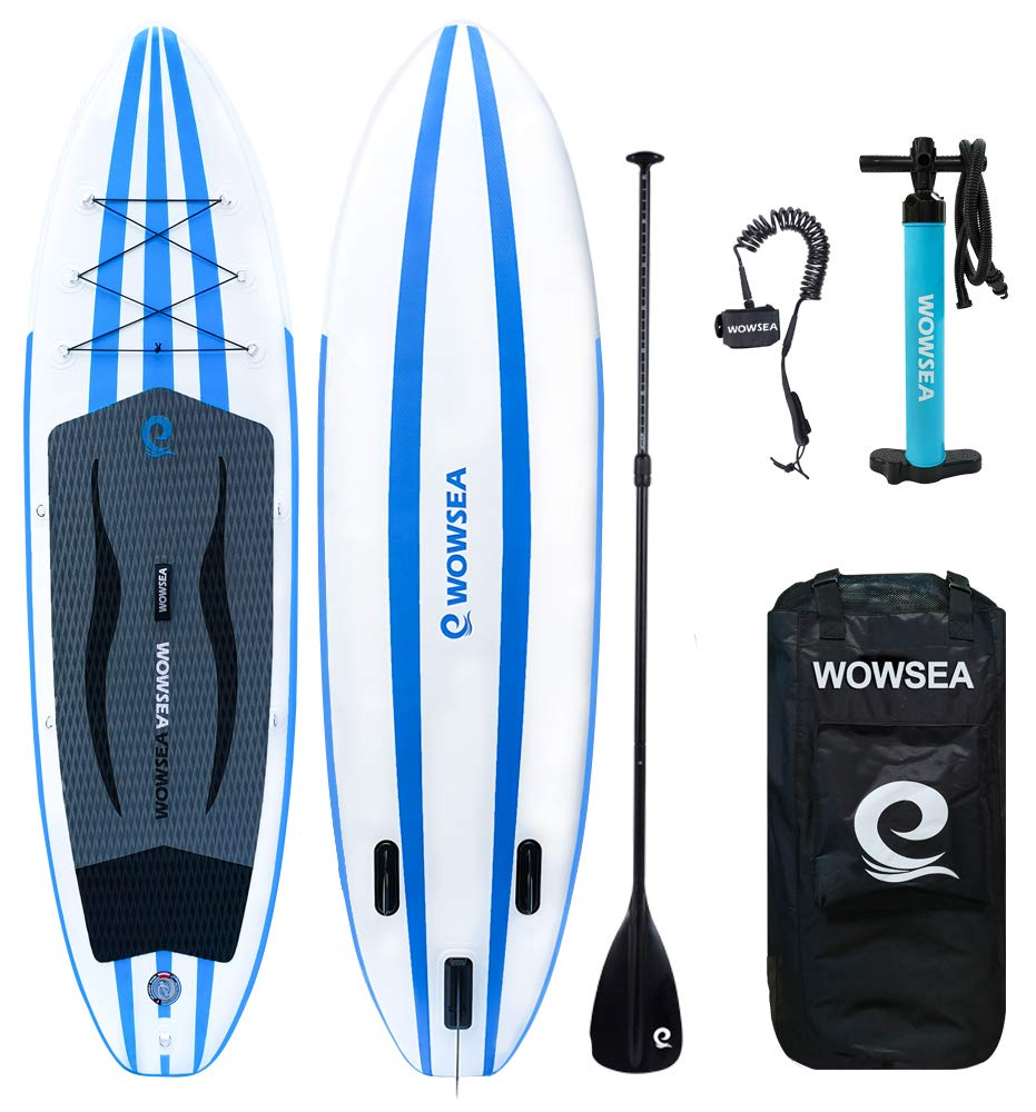 WOWSEA iSUP Inflatable 10' Stand Up Paddle Board Package Includes Adjustable Paddle Travel Backpack Coil Leash for Youth and Adult (10 Feet Blue and White) by WOWSEA