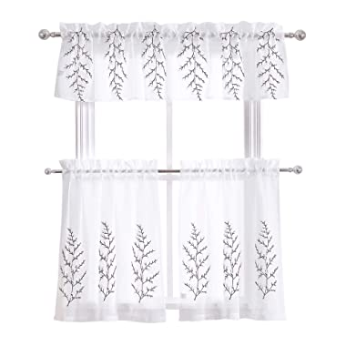 DWCN Floral Embroidered Sheer Curtains White 3 Pieces Kitchen Cafe Curtains Tiers and Valance Set Embroidery Design Rod Pocket Window Curtain for Bedroom