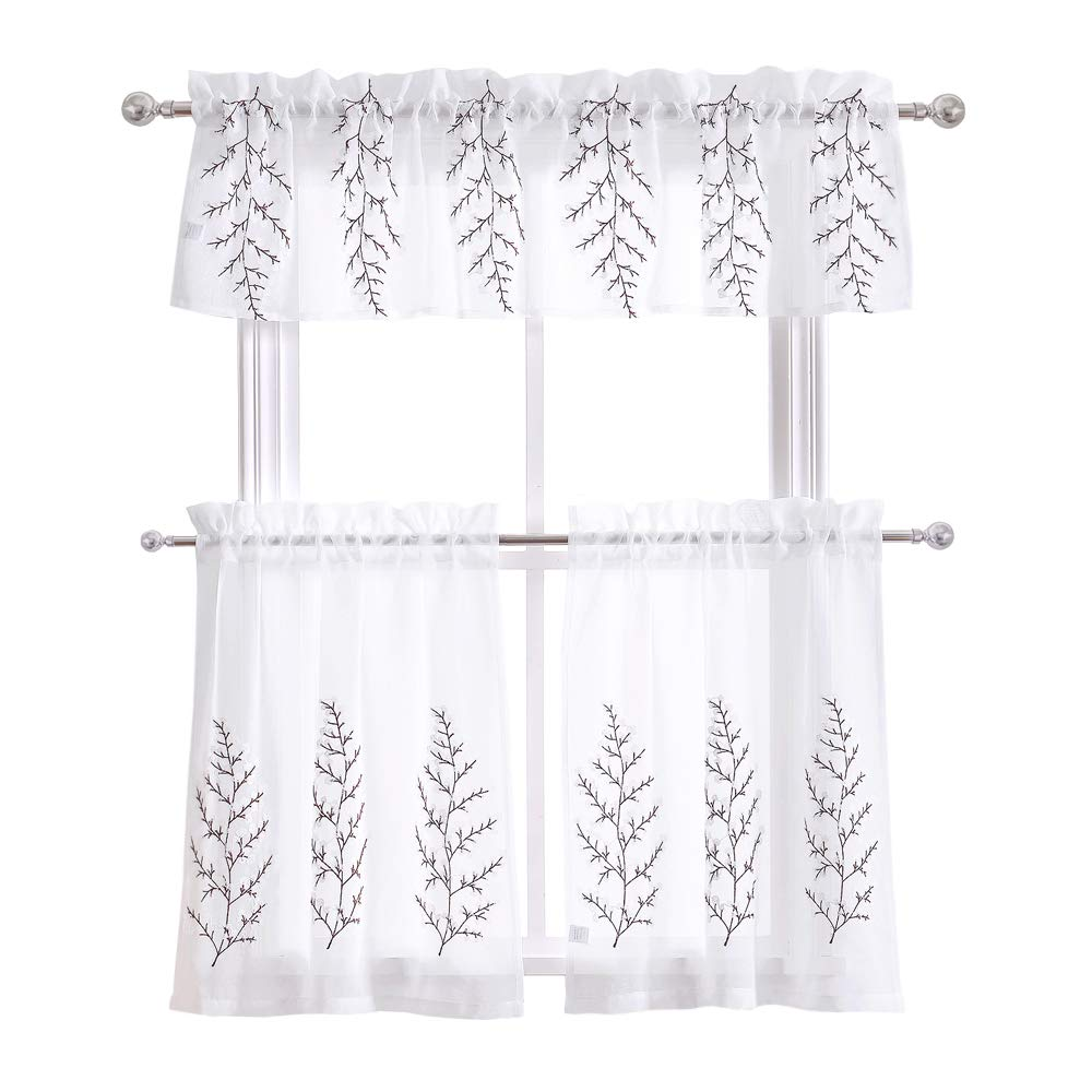 3 Piece Kitchen Window Curtain Set With Flower Embroidered: DWCN Floral Embroidered White 3 Pieces Sheer Kitchen Cafe
