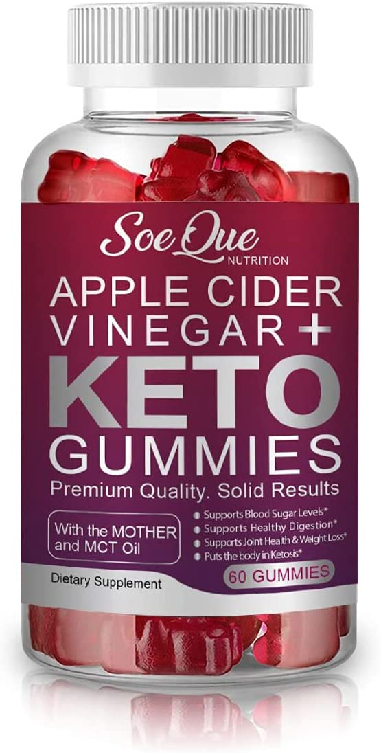 SoeQue Apple Cider Vinegar + Keto Gummies, a Fat Burner and Healthy Weight Loss Supplement with MCT Oil and ACV with The Mother, Pomegranate, Beet Root, Vitamin B9 & B12
