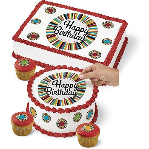 Wilton 710-7816 Birthday Cake Peel & Place Sugar Sheets Decorating Kit -