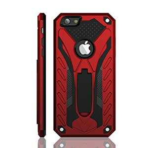 iPhone 6 / iPhone 6S Case, Military Grade 12ft. Drop Tested Protective Case with Kickstand, Compatible with Apple iPhone 6 / iPhone 6S - Red