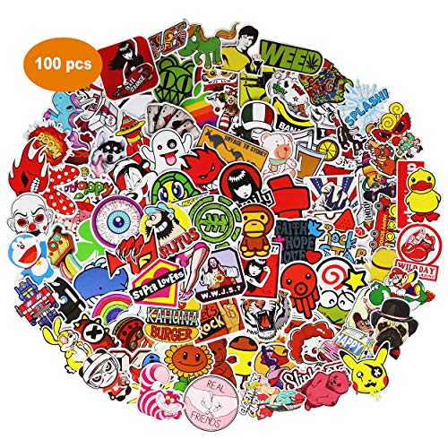 Upgraded Random Sticker 50-200pcs Music Film Vinyl, Laptop Skateboard Guitar Luggage Stickers, Car Motor Bicycle Stickers (A, 100 pcs)
