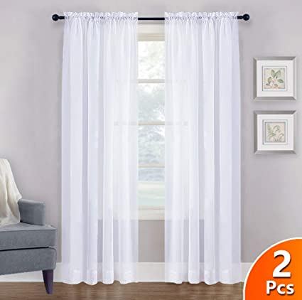 NICETOWN Sheer White Curtains 84 - Rod Pocket Window Treatment Sheer Voile  Drapes for Bedroom, Living Room (1 Pair, W60 x L84)