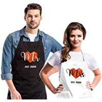 FUNPRON 2 Pack Funny Cooking Aprons for Couples Adjustable Kitchen Chef Aprons with 2 Pockets for Women Men Novelty Engagement Wedding 31.5x23.6 Inch Multi