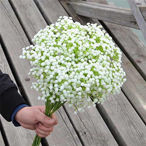 Glitz Star Plastic Artificial Baby's Breath Bridal Bouquet Flower Gypsophila Long Stem Flower for Wedding Arrangement Home Decor,10pcs (Pink Long Stem Vases)
