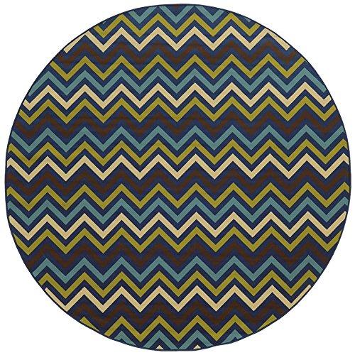 (Oriental Weavers 4593S Riviera Round Area Rug, 7-Feet 10-Inch, Blue/Green)