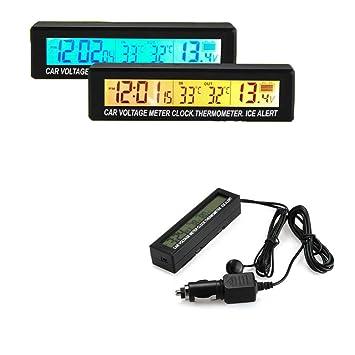 Amazon.es: BoomBoost 3in1 Digital LCD Reloj Voltímetro Termómetro Voltaje Temperatura Monitor Medidor