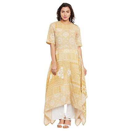 Ritu Kumar Yellow Asymmetric Semi Fitted Kurti Dress Material at amazon