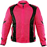 Xelement XS3044 Impulse Womens Black/Hot Pink Mesh Tri-Tex Armored Motorcycle J - Small