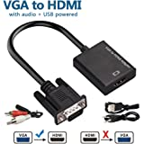 ShiningDay VGA to HDMI Cable, VGA Male to HDMI Female Cable Converter Adapter with 1080P HD Video and USB Audio Support for Connecting Old PC, Laptop with a VGA output to NEW Monitor, HDTV