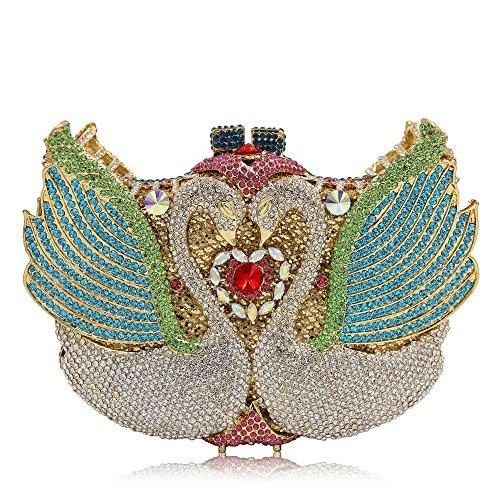 Femmes Gold Color Qualité Sac de Swan De Pochette Soirée Colorful 1 Sculpt Haute Soirée Bourse Crystal Strass Luxe Dark rFSxqrHA