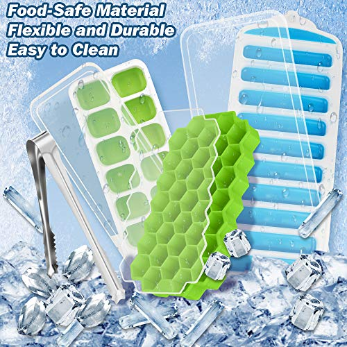 Ice Cube Tray with Lid & Mini Ice Tongs, BPA Free Ice Tray, Patinao Flexible 3 Pack Reusable Silicone Ice Trays for Freezer, Bottle Ice Stick Maker Mold with Covers, Ideal for DIY, Whiskey & Cocktails