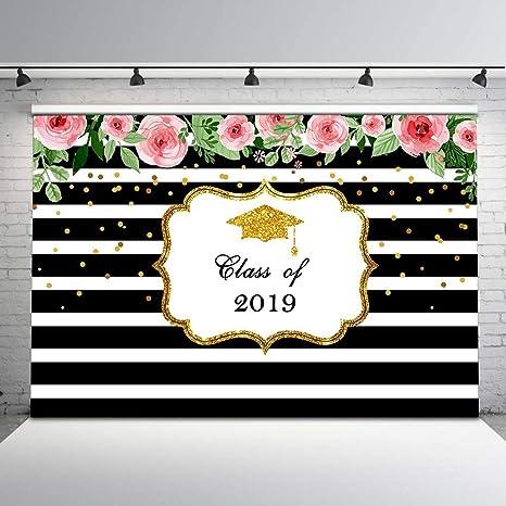 Mocsicka Graduation Party Backdrop Black And White Amazon Co Uk