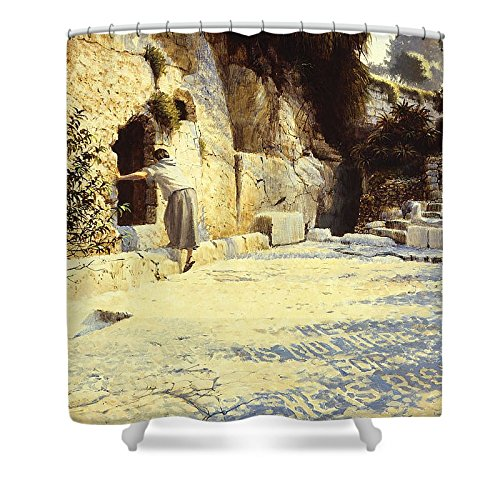 Pixels Shower Curtain (74'' x 71'') ''He Is Risen'' by Pixels