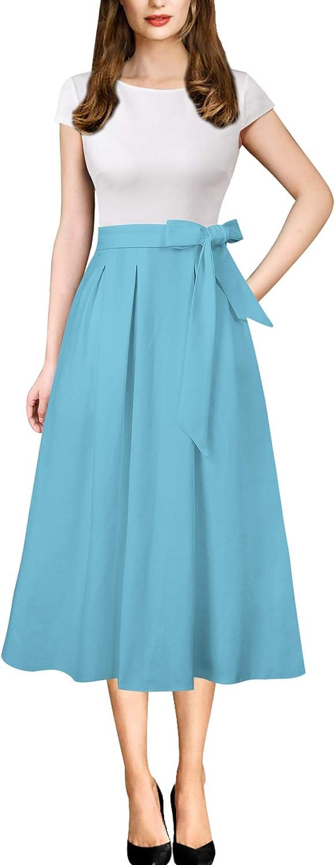 VFSHOW Womens Elegant Patchwork Pockets Print Work Casual A-Line Midi Dress