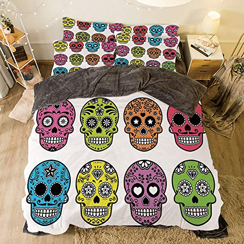 Flannel 4 Pieces on The Bed Duvet Cover Set for Bed Width 6.6ft Pattern by,Skull,Ornate Colorful Traditional Mexian Halloween Skull Icons Dead Humor Folk Art Print,Multi for $<!--$138.88-->