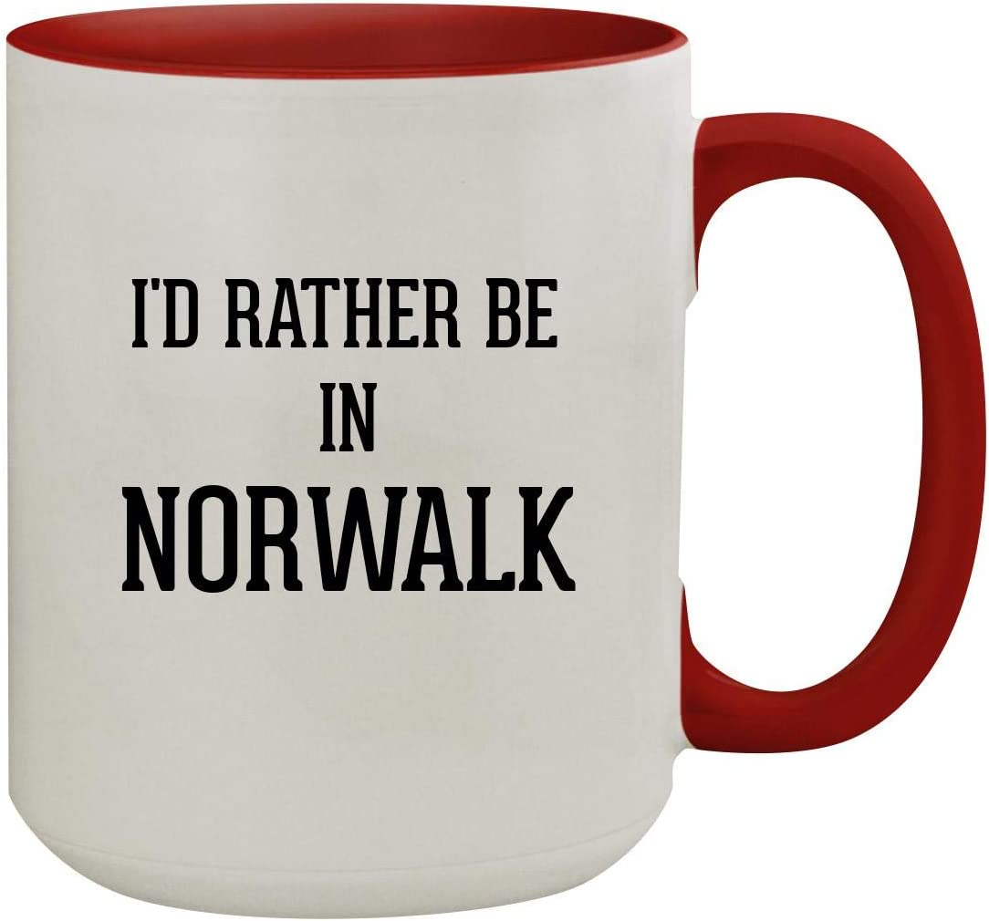 I'd Rather Be In NORWALK - 15oz Colored Inner & Handle Ceramic Coffee Mug, Red