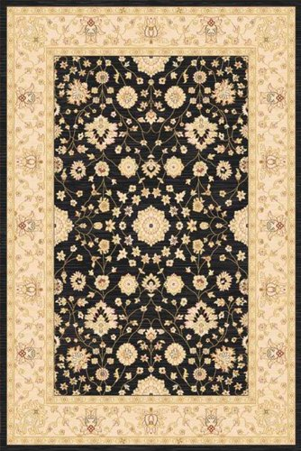 Home Dynamix Antiqua Area Rug 8459-472 Black/Cream Border Flowers 9' 2