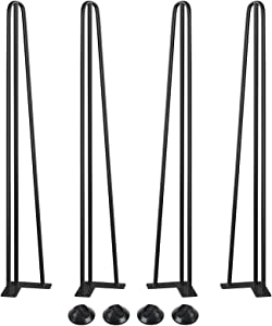 """SMARTSTANDARD 34"""" Heavy Duty Hairpin Coffee Table Legs(Set of 4). Metal Home DIY Projects for Furniture, with Rubber Floor Protectors, Bright Black"""