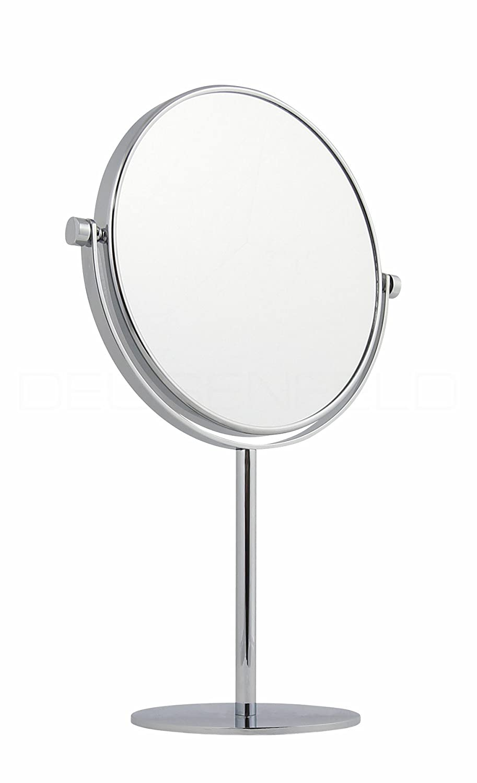 DEUSENFELD SK520 - Doppel Stand Kosmetikspiegel Standspiegel Rasierspiegel Make-up Spiegel, 5X Vergrößerung + Normalspiegel, Ø20cm, Schwere Qualität, verchromt