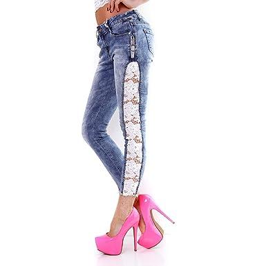 Fashion Damen Jeans seitlich Häkel Spitze und Strass