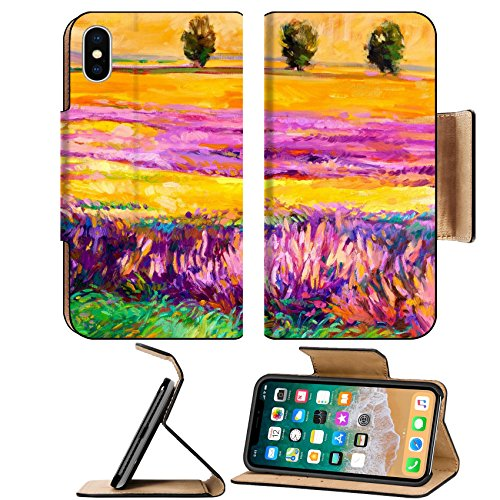 Msd Premium Apple Iphone X Flip Pu Leather Wallet Case Original Oil Painting Of Lavender Fields On Canvas Modern Impressionism Image 15199601