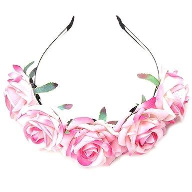 Hengsong Damen Madchen Rose Blume Haarreif Blumenstirnband Garland