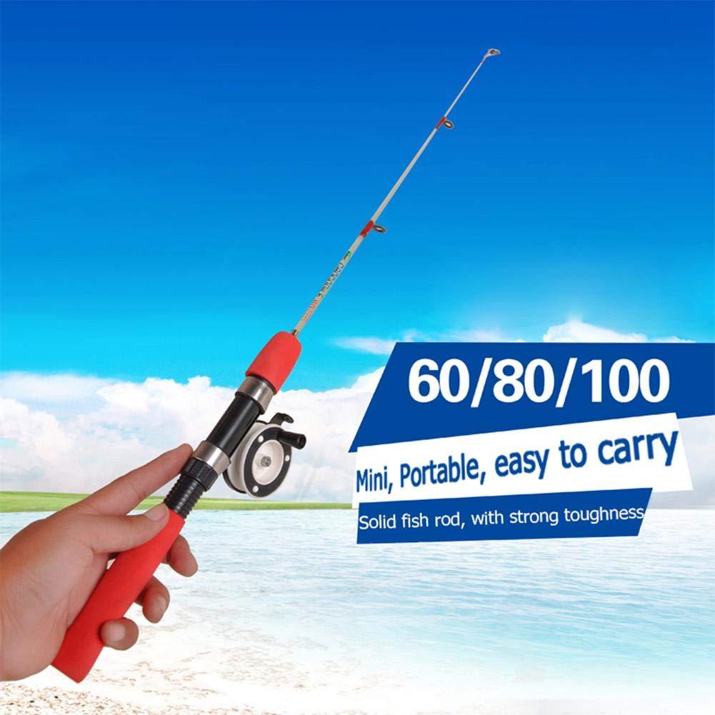 Trendyest 伸縮式釣り竿 FRPフィッシングポール アイスシーEVAハンドル スピニングロッド  60CM B07KQ3ZRJ3
