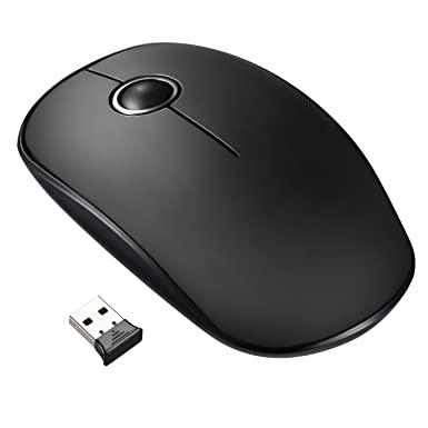 Wireless Mouse【Silent & Ultra-Slim, Convenient & Portable】VicTsing  Comfortable 2 4G Ergonomic Full Size Cordless Mice Easy Connect with