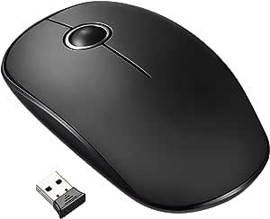 VicTsing Ratón Inalámbrico Delgado Mini 2.4G con Receptor Nano, Tecla Silenciosa y Preciso, 1600 DPI, perfecto para Ordenador Portátil / PC / Tableta / MacBook - Negro