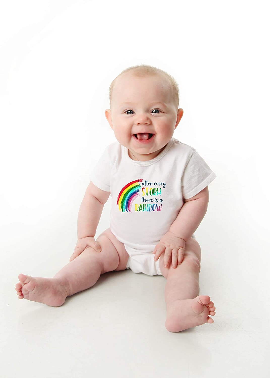 Rainbow Baby Onesie/® After Every Storm There is a Rainbow Bodysuit Hope Organic Cotton Romper