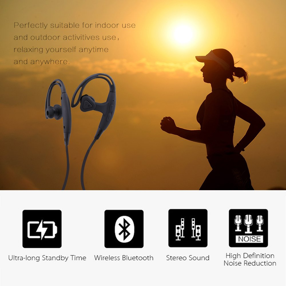 Sunvito Bluetooth Wireless 4.1 Headphones Sports Running Gym Exercise Earphones for iPhone 6, 6S, 6 Plus,Samsung Galaxy S5, S4 and more Smartphones and Tablets--Black