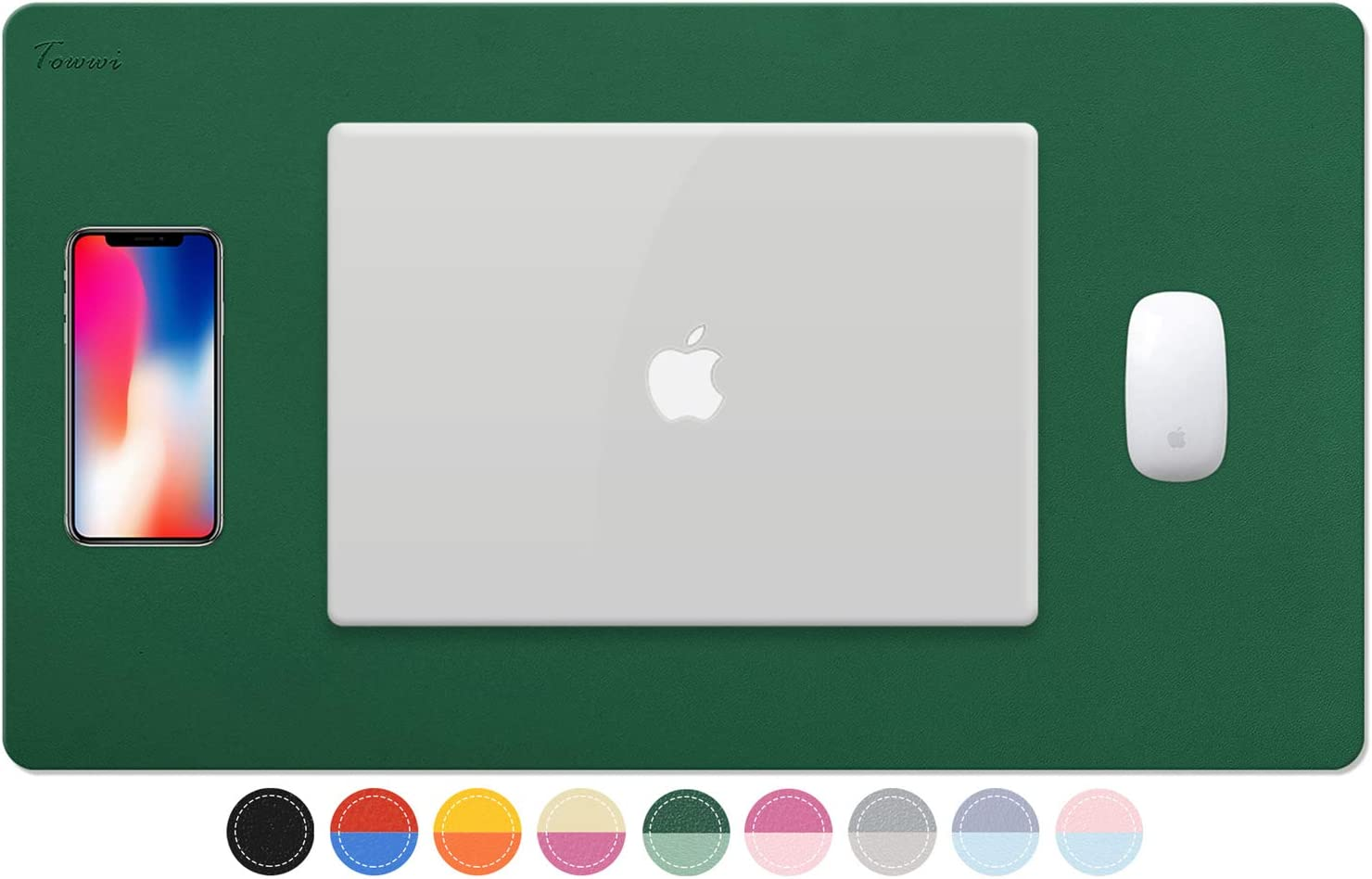 "TOWWI Dual Sided Desk Pad, 24"" x 14"" PU Leather Desk Mat, Waterproof Desk Blotter Protector Mouse Pad (Dark Green/Light Green)"